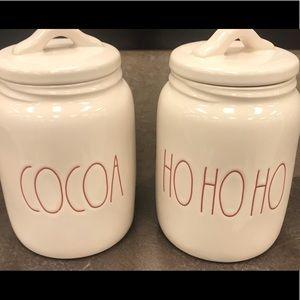 Rae dunn cocoa And hohoho canisters